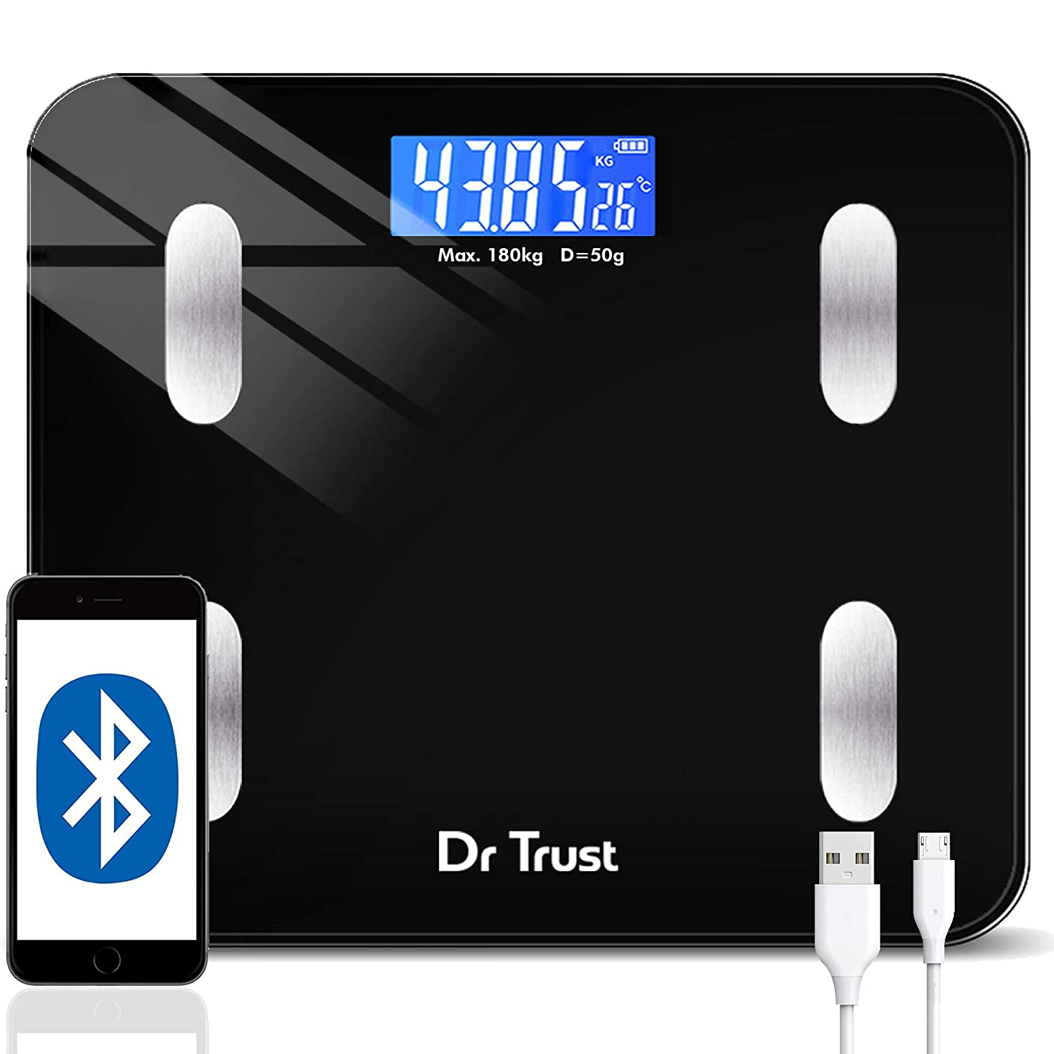Dr Trust (USA) Digital Smart Electronic Rechargeable Bluetooth Fitness Body Composition Monitor